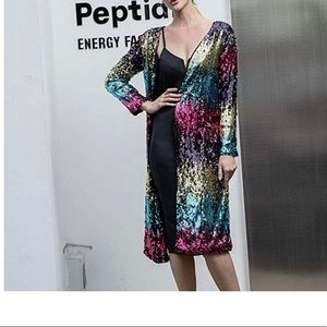 Jackets & Blazers - Rainbow Sparkle Sequin Cardigan Coat
